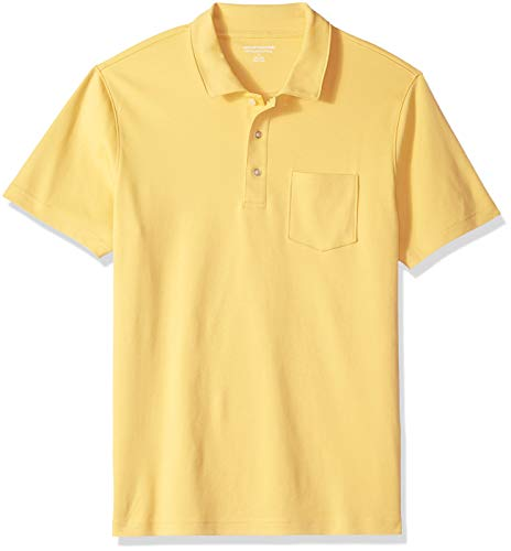 Amazon Essentials Men's Slim-Fit Pocket Jersey Polo, Yellow, Small
