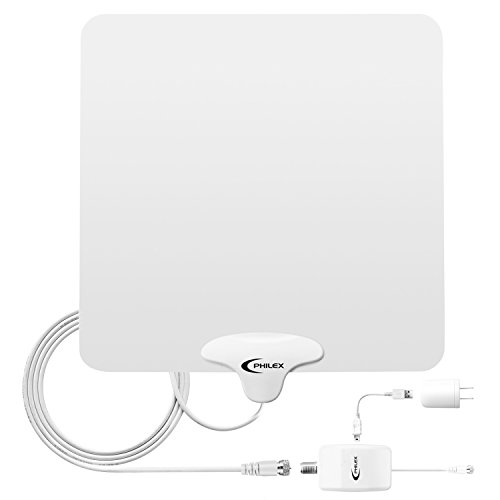 HDTV Antenna ,Philex 50 Mile Digital Indoor Amplified TV Antenna with Detachable Amplifier Signal Booster and 10ft Coax Cable-Free Channels for Life
