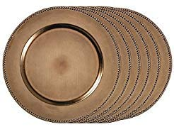 """Used, Beaded Charger Plates 13"""" Bronze (Set of 6) for sale  Delivered anywhere in USA"""