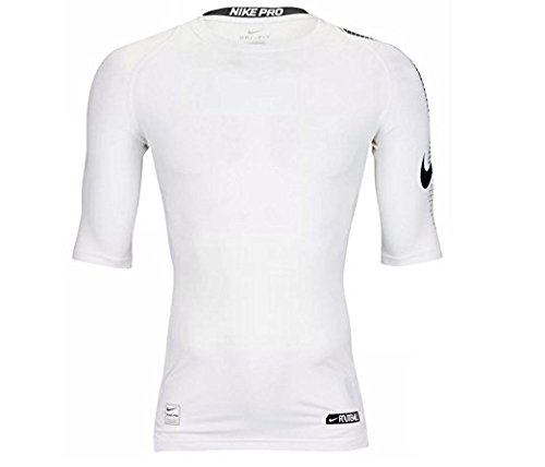 Nike Pro Men's Dri-Fit Half Sleeve Football Compression Top Shirt White 837174 100 Size XL