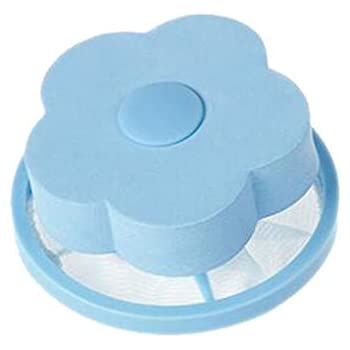 Mesh Filtering Hair Removal Floating 2Pcs Filter Bag Washer Style Laundry Clean (Blue, Free Size)