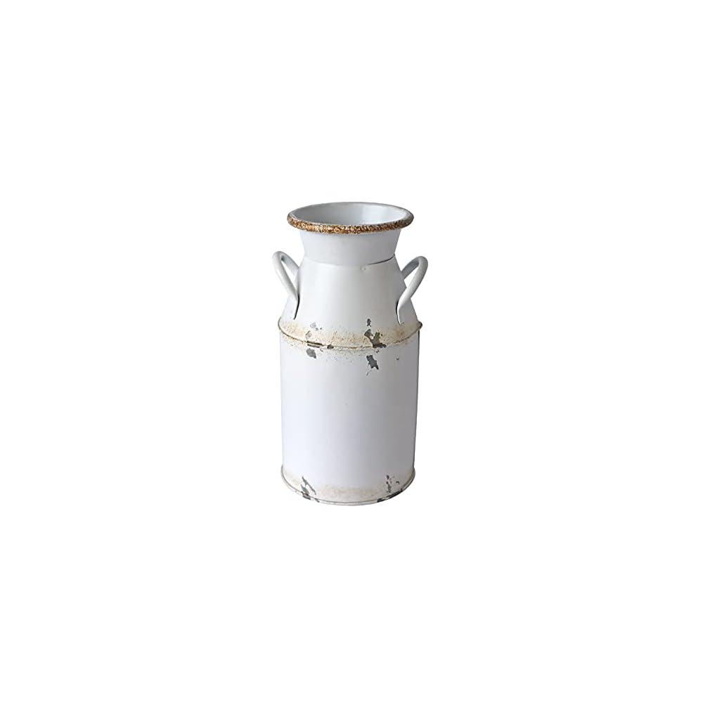 Fauevav Galvanized Milk Can Antique Retro Vase Metal Planter Rustic Vintage Primitive Flower Holder Farmhouse Country…