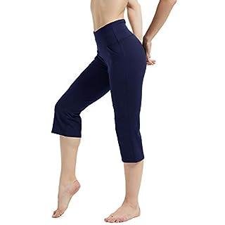 Rataves Women's Cropped Kick Flare Yoga Pants High Waist Tummy Control Capri Pants Crop Pant with Pockets Yoga 7/8 Crop Legging XL Navy