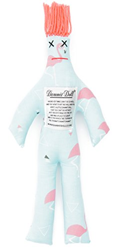 Dammit Doll - Classic Dammit Doll - Flamingle - Flamingos on Mint, Coral Hair- Stress Relief, Gag Gift (Flamingo Coral)