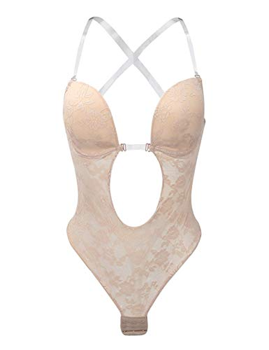 Full Back Bodysuit - Shymay Women's Deep V Bodysuit Thong Bottom Backless Lace Seamless U Plunge Body Suit,Khaki,36 fit 36C/36D/38B