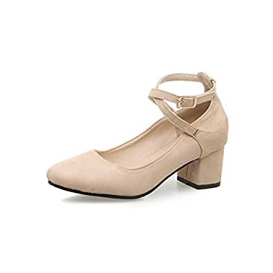 BalaMasa Womens Casual Solid Structured Apricot Urethane Pumps Shoes APL10610-4 B(M) US
