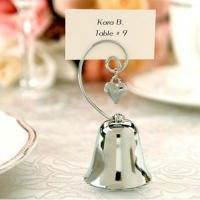 Gold Bell Place Card Holders - Table Number Holders - 12 Piece - Bell Place Card Holder - Metal Wedding Numbers Cards Stand - Menu Picture & Photo Sign Name Clip Top Stands - For Restaurants, Weddings, Banquets, Christmas, Silver