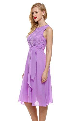 Chiffon Lace Belt with Purple Elegant Round Sleeveless Neck Sundress Women's Dress Cocktail Seewebest PvTWaIn