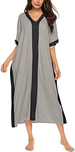 Bloggerlove Nightgowns For Women House Dresses Maxi Caftan Loungewear V Neck Sleep Shirt Cotton Sleepwear
