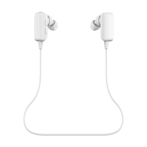 Mini Lightweight Sports Wireless Stereo BT 4.0 Bluetooth Headset Headphones Earphones Earpiece Earbuds with Microphone Mic, A2DP, Noise Cancellation, Music Remote Control, for Bike Cycling, GYM, Running, Exercises for Apple iPhone 6 6 plus 5 5s 5c, iPhone 4 4s, iPad 1 2 3, iPad Mini, iPad Air, iPod and Samsung Galaxy S6, S5, S4, Galaxy note 4 3 2, Android Cell Phones and Other Bluetooth Devices - White (Retail Package).