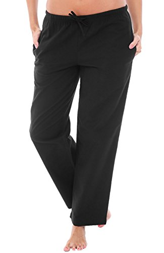 (Alexander Del Rossa Womens Flannel Pajama Pants, Long Cotton Pj Bottoms, Large Black (A0702BLKLG))