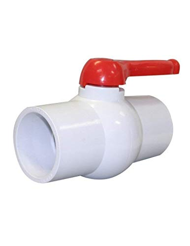Charman 1209 Inline PVC Ball Valve, Single Handle Shut-Off Valves, Slip Solvent Schedule 40 Pipe Connector, EPDM Seal Schedule 40 End, White Polyvinyl Chloride Piping for Sewer Hose Swimming Pool, 3