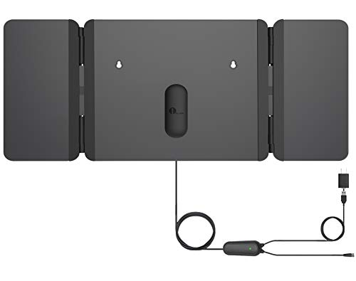 1byone TV Antenna [2019 Newest] Unique Foldable Antenna, 120 Miles Indoor TV Antenna for Digital Freeview 4K 1080P VHF UHF Local Channels with Siginal Amplifier Support All TV