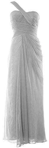 MACloth Women One Shoulder Long Evening Gown Wedding Party Formal Prom Dress Plateado