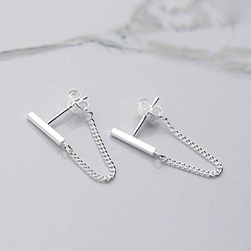 925 Sterling Silver Stud Earrings Minimalist Bar Earrings with Chain Dangle Earrings For Women