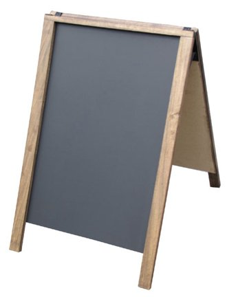 "NEOPlex 24"" x 36"" Hardwood Sidewalk Sandwich Board A-frame Sign With Chalkboard Surfaces - Dark Walnut Stain Finish"