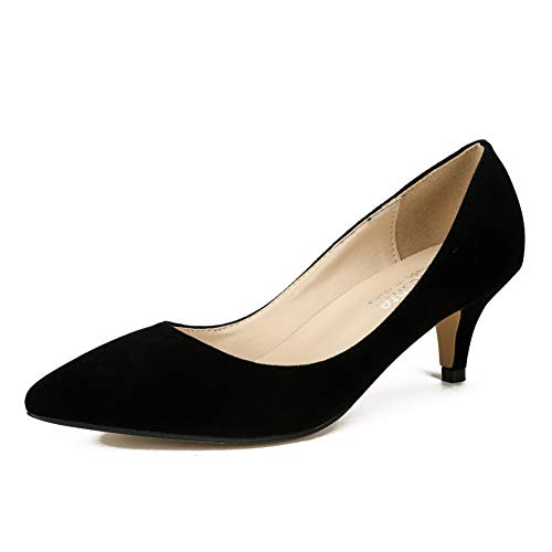 fereshte Women's Pointed Toe Party Dress Kitten Heels Office Work Pumps Velvet Black EU40 (Westland Shopping Mall)