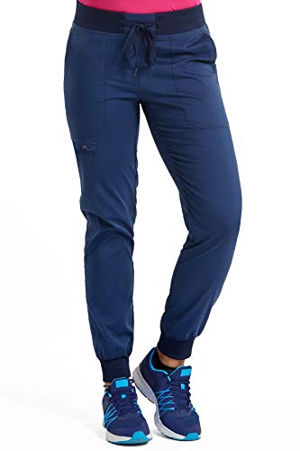 Med Couture Touch Women's Jogger Yoga Scrub Pant, Medium, Navy Petite - Busy Shoe