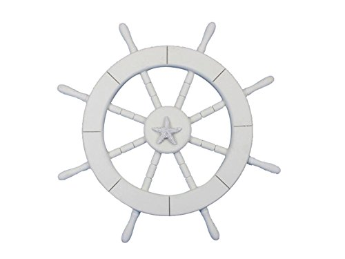 "Hand Craft Model White Ship Wheel with Starfish 18"" - Dec..."