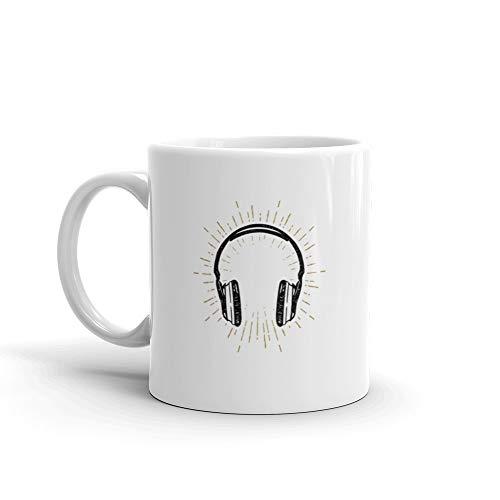Hand Drawn Old School Headphones Coffee Mug Ceramic 11 Oz Cups (Best Old School Headphones)
