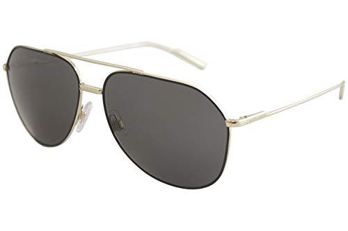 Dolce & Gabbana Men's Metal Man Aviator Sunglasses, Black/Pale Gold, 61 mm