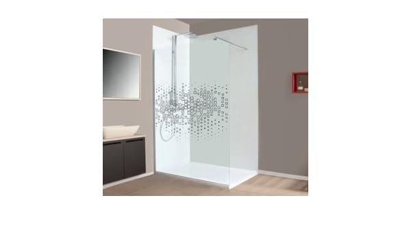 Mampara de ducha fija VITROS. Vidrio Securit en transparente. Gris Ahumado o sérigraphié de 6 mm antical: Amazon.es: Bricolaje y herramientas