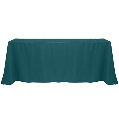 Ultimate Textile 90 x 132-Inch Rectangular Polyester Linen Tablecloth Teal (Teal Table Cloth Linen)