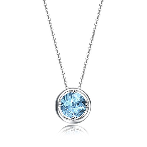 Carleen Solid 14K Yellow Gold Birthday Round Gemstone November Solitaire Blue Topaz Birthstone Necklace Pendant Delicate Dainty Fine Jewelry for Women Girl, 18 inch