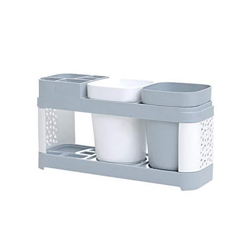 (Wabaodan Toothbrush Holder Stand Plastic Cup Set Shelf Bathroom Toothpaste Storage Rack)