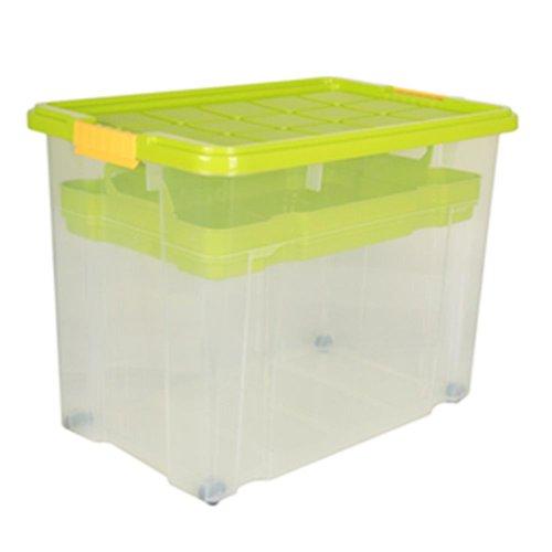 3 Stück AXENTIA Unibox mit Deckel und Rollen Stapelbox Aufbewahrungskiste Spielzeugbox 60 x 40 x 44,5 cm mit Einlegefach 80 Liter