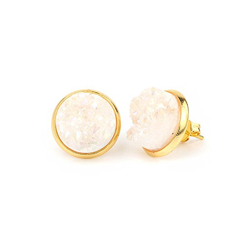 Tiny 6mm Round 24k Gold Plated Natural Stone Druzy Stud Earrings Women Jewelry(Opal White)