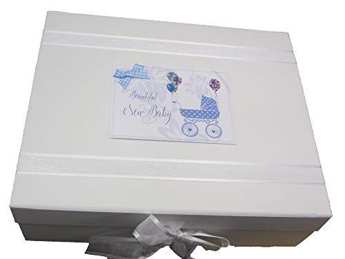 (white cotton cards 'New Baby' Blue Pram Large Keepsake Box (DTB2X))