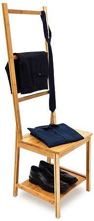 Relaxdays 10019172 Chaise Porte Serviettes Porte Vetements Bambou