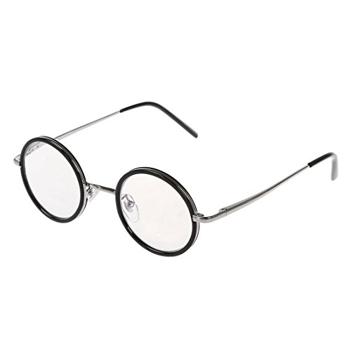 SODIAL(R) antique style retro reading glasses nerd glasses reading aid with Case Round Frame - Glasses Frames Style Antique