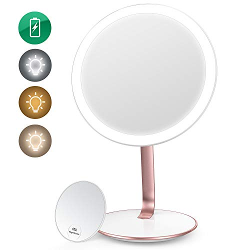 EASEHOLD Makeup Vanity Mirror Rechargeable with 3 Colors 52 LEDs Lights Smart Touch Sensor Dimmable 1X/10X Magnifying Cosmetic Beauty High Definition Circle Portable Countertop Desk Face Mirror
