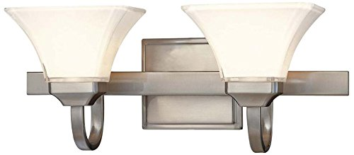 Two Light Reversible Lighting (Minka Lavery 6812-84, Agilis Reversible Glass Wall Vanity Lighting, 2 Light, 200 Total Watts, Nickel)