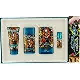 ED HARDY HEARTS & DAGGERS by Christian Audigier Gift Set for MEN: EDT SPRAY 3.4 OZ & DEODORANT STICK ALCOHOL FREE 2.75 OZ & HAIR AND BODY WASH 3 OZ & EDT SPRAY .25 OZ MINI