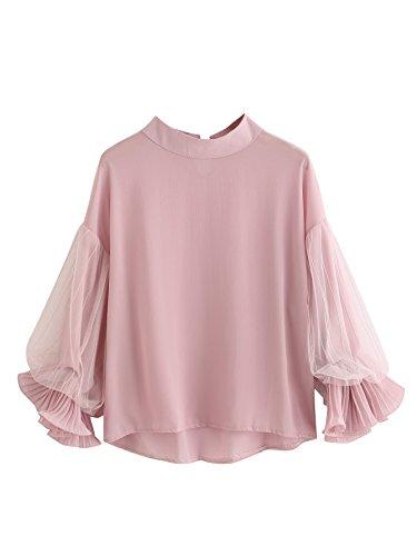WDIRA Women's 3/4 Sleeve Tiered Layer Chiffon Blouse Top Pink M