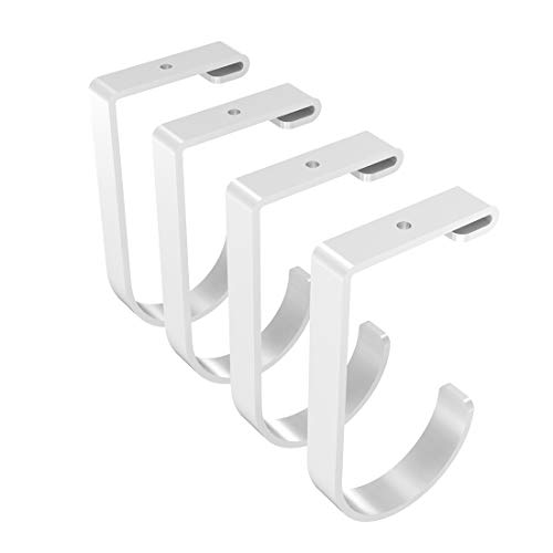 FLEXIMOUNTS Add-On Storage Hook Accessory Ceiling Rack, 4-Pack (Flat Hook x 4, White)