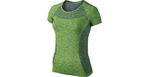 NIKE Dri-FIT Knit Gray Short Sleeve T-Shirt, Shirt Top (644680 010) (S, Deep Royal Blue/Action Green) ()
