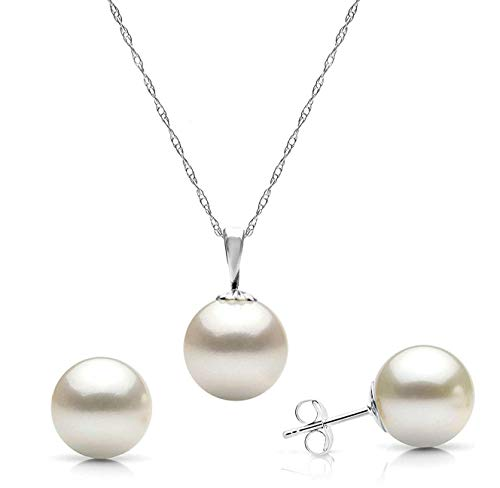 14K White Gold 7-7.5mm Freshwater Cultured White Pearl Stud Earrings and Pendant Necklace Set, 18