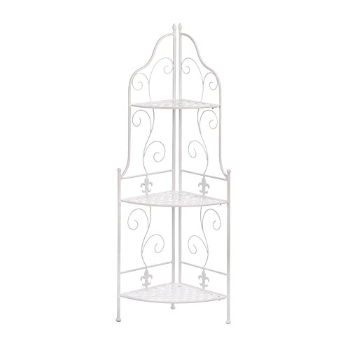 White Basket Weave Corner Rack by Accent Plus
