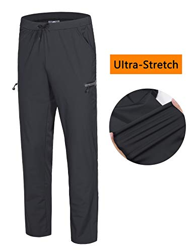 (Little Donkey Andy Men's Stretch Quick Dry Ankle Pants with Drawstring Lightweight for Training Jogging Running Exercise Sports Travel Hiking Black M)
