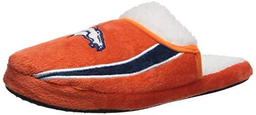 FOCO NFL Denver Broncos Team Logo Sherpa Slippers, Team Color, Small (7-8) (House Sherpa)