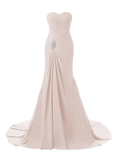 Lily Weddding Womens Sweetheart Mermaid Prom Bridesmaid Dresses 2018 Long Formal Evening Ball Gowns FED00302 Nude Pink Size16