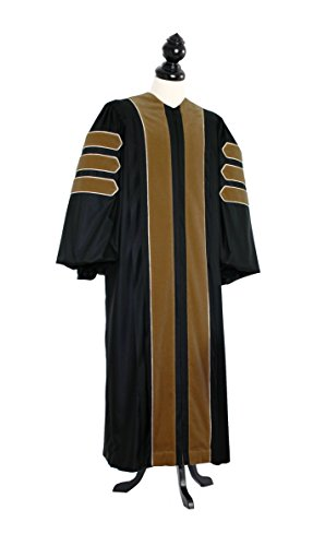TIMELESS Men Deluxe Doctoral of Fine Arts, Architecture Academic Gown for faculty and Ph.D. gold silk Custom Size Black by TIMELESS - bespoken