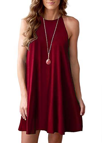 Feiersi Women's Halter Neck Boho Floral Print Loose Casual Sleeveless Short Dress(Wine Red,L)