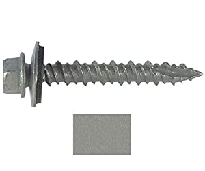 "#10 Metal ROOFING SCREWS: (250) Screws x 1"" ZINC Hex Head Sheet Metal Roof Screw. Self starting/tapping metal to wood, sheet metal siding screws ~ EPDM washer. Colored head~For corrugated roofing"