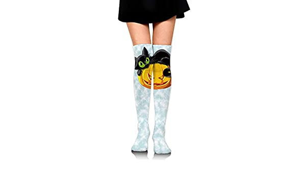 Black And White Cat Faces Pattern Compression Socks For Women 3D Print Knee High Boot