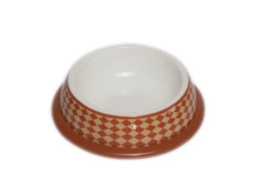 PawProof University Collection XL Designer Pet Bowls, Checker Brown